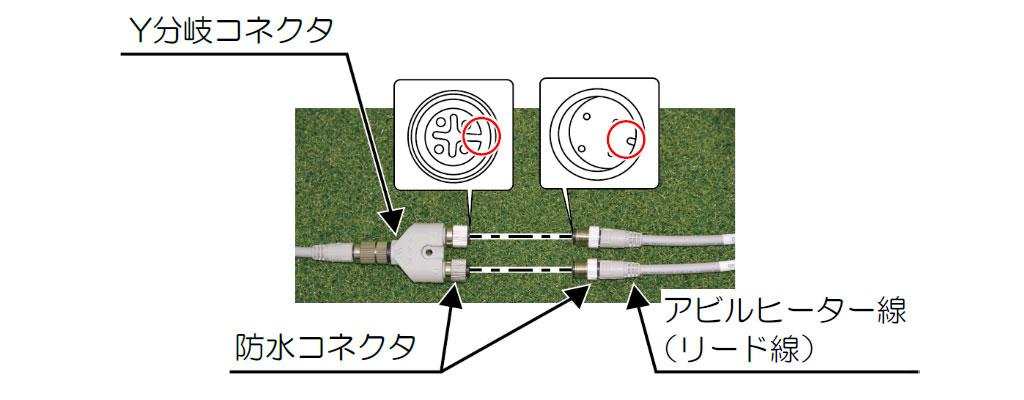 2本の防水コネクタをY分岐コネクタ側の防水コネクタに接続